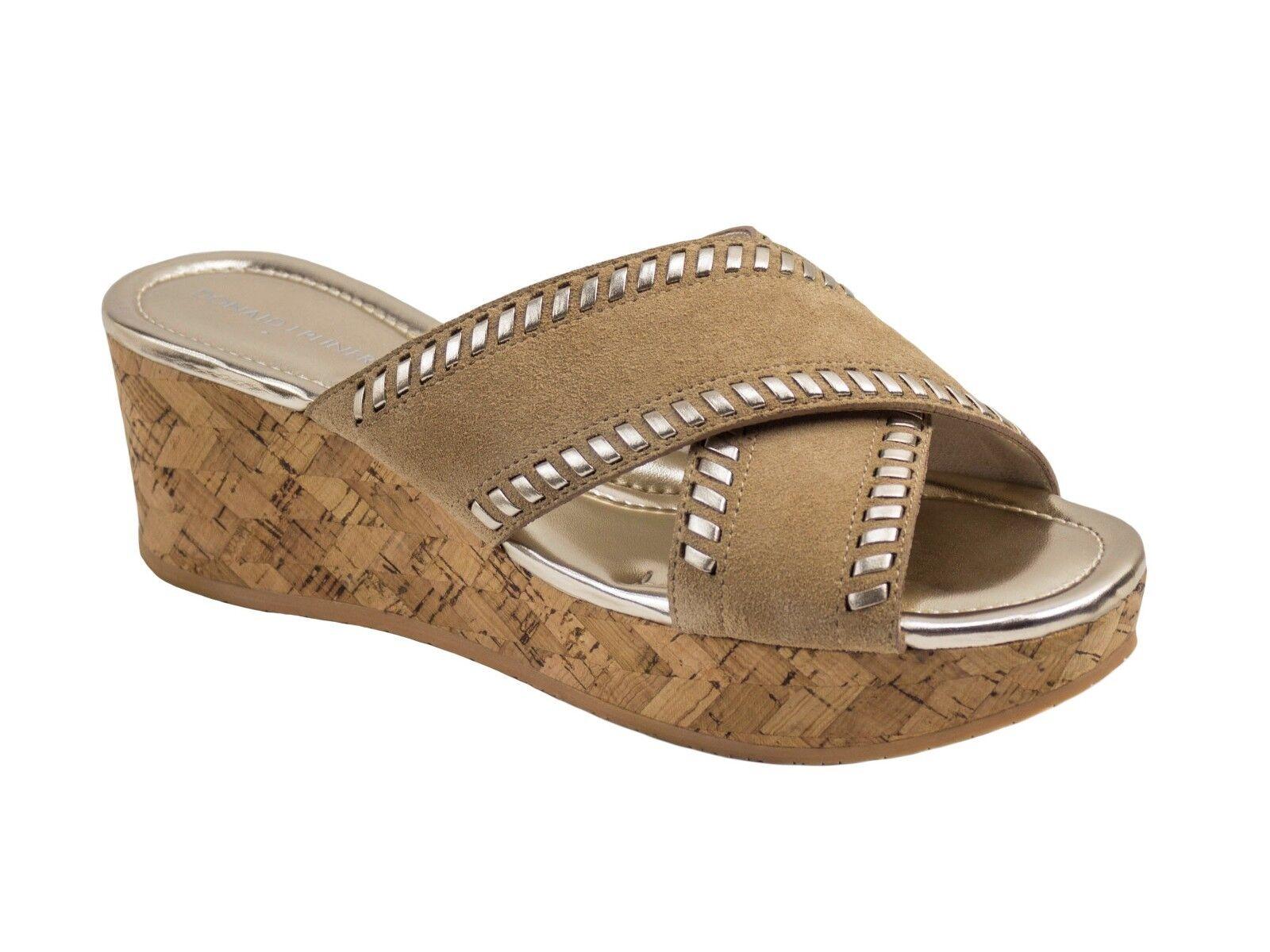 Donald J Pliner Savee Beige Whipstitch Cork Wedge Slide Sandal Sandal Sandal Sz 9 NEW  188 ac9ccc