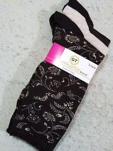 Gold-Toe-Women-039-s-Fashion-Socks-Brown-Floral-Print-Tan-3-Pair-Shoe-Sz-6-9