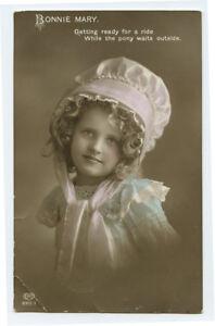 c 1912 Child Children Pretty BONNIE MARY Girl British tinted photo postcard