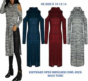 New-Womens-Knitware-Cut-out-Shoulder-Cowl-Neck-Maxi-Tunic-Dress-Ladies-Long-Top