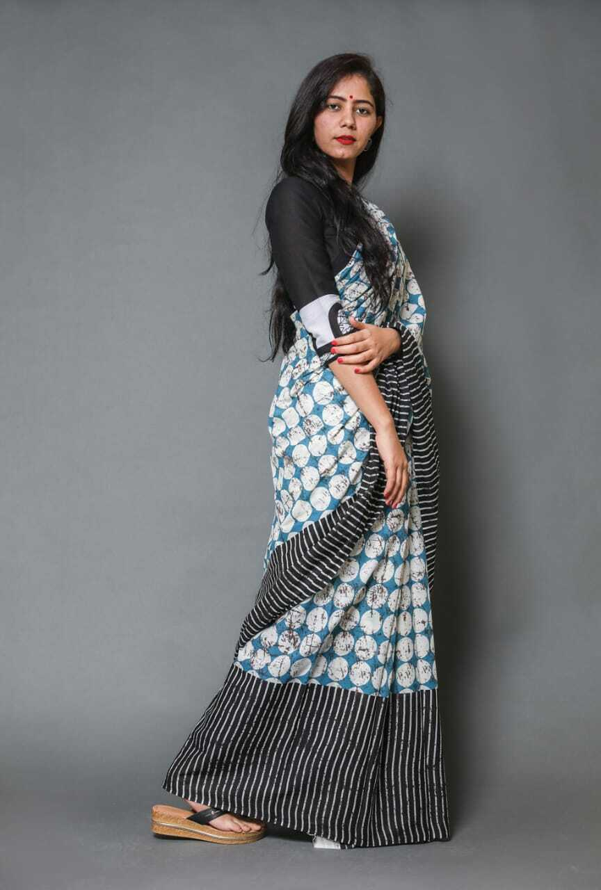 Sari Women HandMade Arts Beautiful Designer Multi Printed Cotton Saree & Blouse