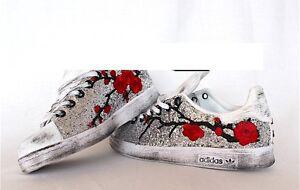 scarpe adidas stan smith con glitter argento e peach piu' sporcatura
