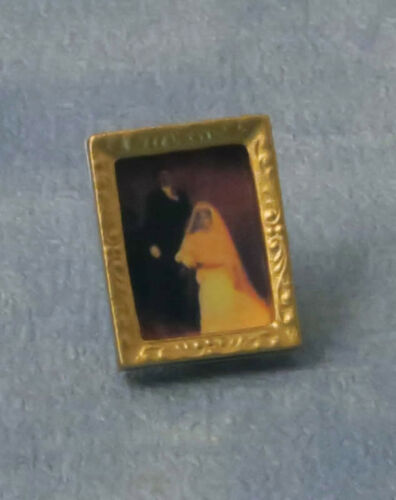 1:12 Scale Victorian Wedding Picture In A Frame Tumdee Dolls House Bride /& Groom
