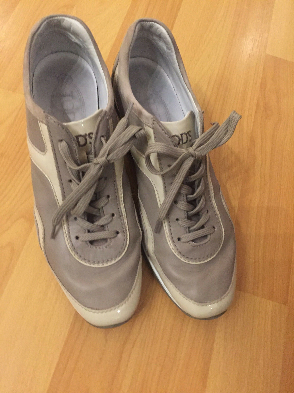 Preowned Tod's Low-tops & Trainers Pale Taupe Suede Wedge Sneaker SZ 36 1/2   GA