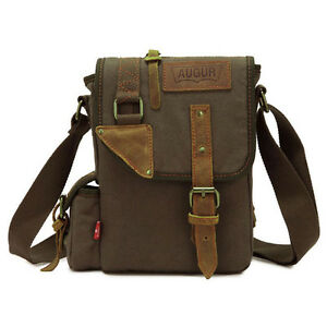 Image is loading Men-Small-Vintage-Canvas-Leather-Satchel-School-Military- 3e6a7fb8e3