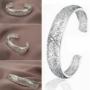Classic-925-Sterling-Silver-Hoops-Women-Hollow-Cuff-Bangle-Open-Bracelet-Gift