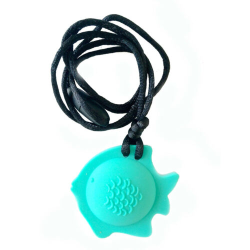 Aqua Color Chubuddy Fish Chewy Pendant With Breakaway Clasp Necklace