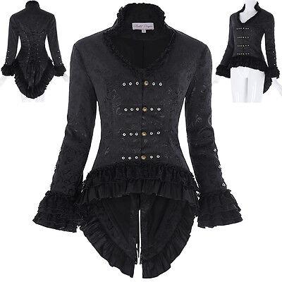 Womens Jacquard Victorian Steampunk Gothic Dressage Tailcoat Corset Back Jacket