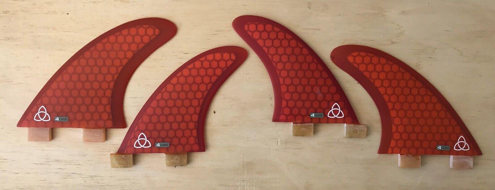 Medium Fiberglass Surfboard Fins - Quad (Set of 4) orange, FCS