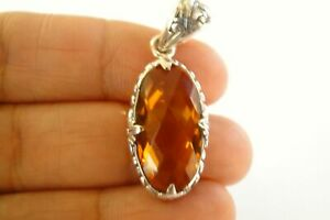 Oval-Golden-Yellow-Citrine-Solitaire-Ornate-925-Sterling-Silver-Pendant