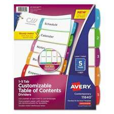 Avery Ready Index Table Of Contents Dividers Multicolor Tabs 1 072782118402