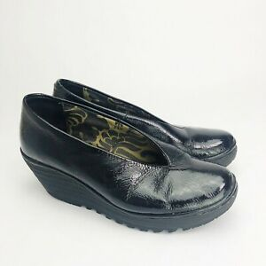 Fly-London-Size-41-10-10-5-Black-Patent-Leather-Slip-On-Comfort-Wedge-Shoes