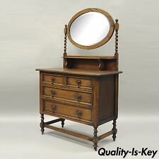 Antique Oak Barley Twist Dresser Chest & Mirror Jacobean English Renaissance Sty