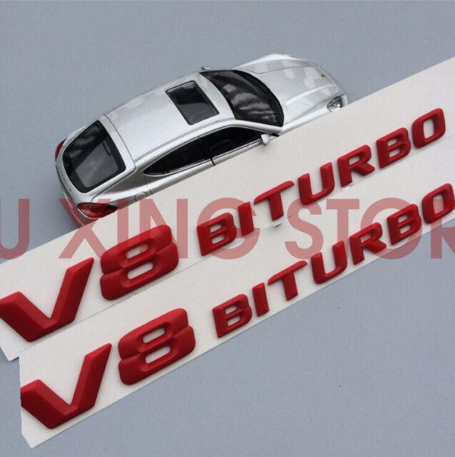 2X Side Fender Sticker Emblem Glossy Letter V8 Biturbo Mercedes Benz Bi Turbo