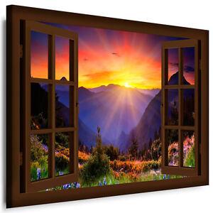 bild auf leinwand fensterblick 15 natur landschaften bilder kunstdrucke k poster ebay. Black Bedroom Furniture Sets. Home Design Ideas
