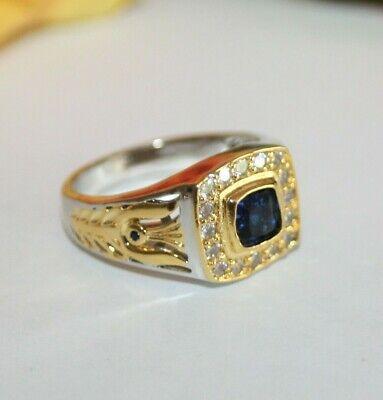 Saphir blau Zirkon HerrenRing bicolor Silber versilbert Gold vergol Gr 62 Ø19,7