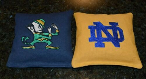Corn or Pellets! 8 Quality Embroidered Cornhole Bags Notre Dame Navy and Gold