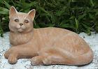 Steinfigur Katze liegend Terrakotta Gartendeko Gartenfigur Steinguss frostfest