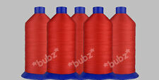 FIVE 3,000m SPOOLS BONDED NYLON STRONG SEWING THREAD 20s RED TKT LEATHER REPAIR