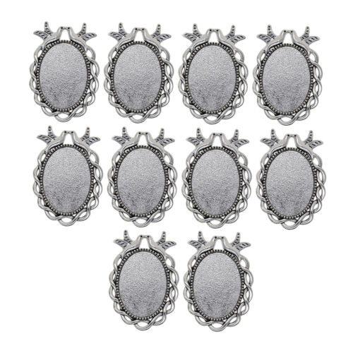 10pcs Silber Oval Foto Cameo Cabochon Einstellungen Anhänger Charms