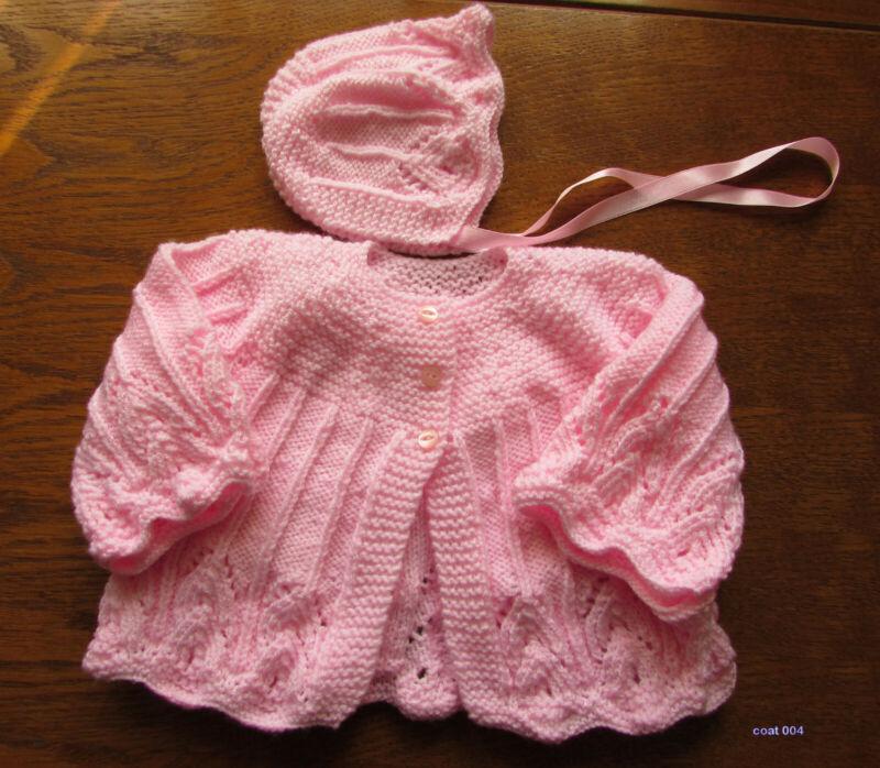 Bebé Rosa Mano Kintted Abrigo Y Sombrero De 0 A 3 Meses Nuevo