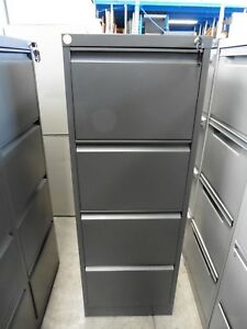 OFFICE-4-X-DRAWER-STEEL-FILING-CABINET-CHARCOAL-GREY-BRISBANE