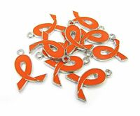 10 Pcs Orange Ribbon Leukemia, Kidney Cancer Enamel Charms 21mm X15mm