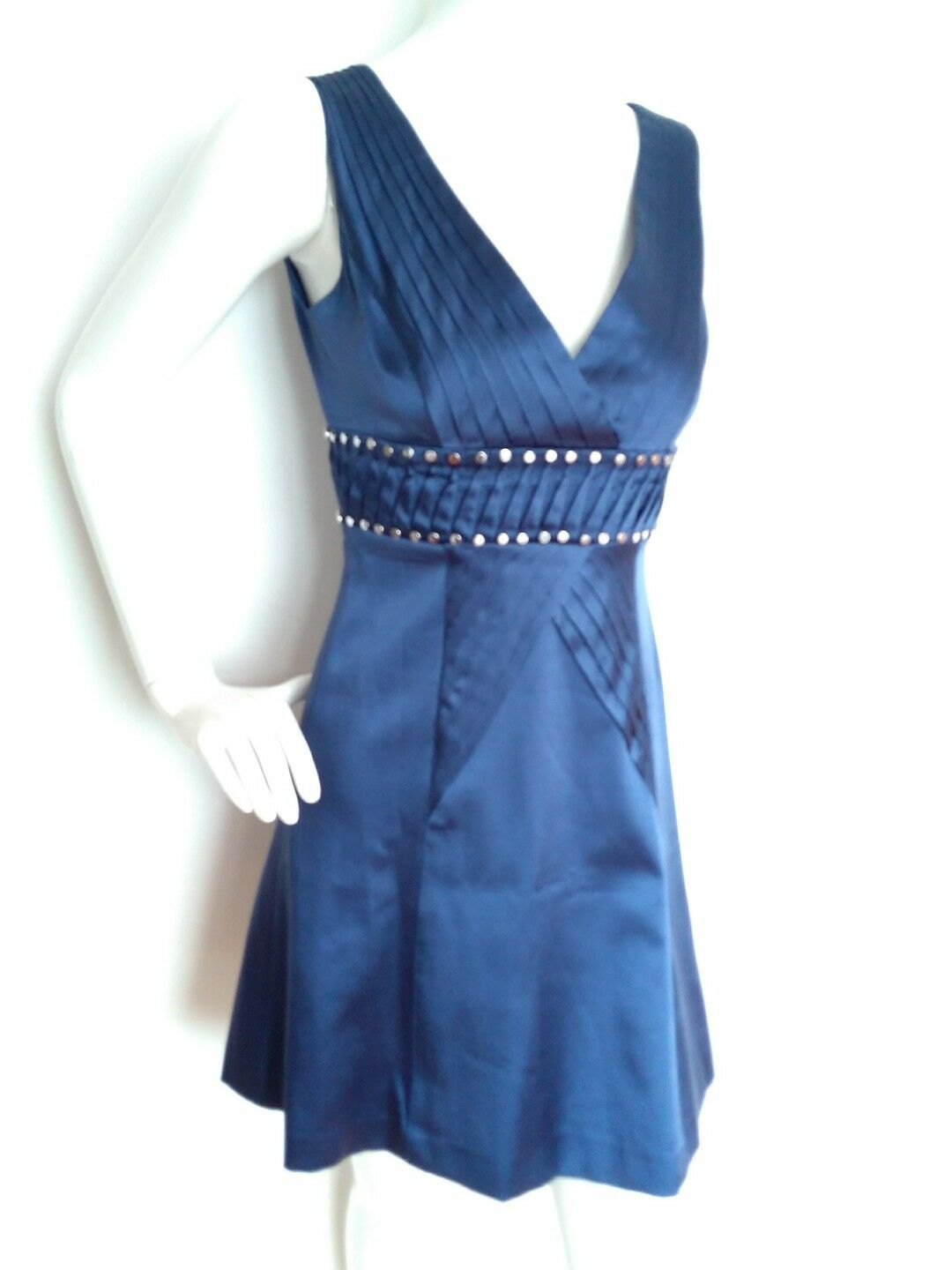 Designer KAREN MILLEN  silk dress Größe 10 --BRAND NEW-- studded jet Blau