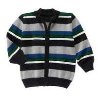 Gymboree All Spruced Up Train Sweater Toddler Boys Zip Up Stripe 6-12 M