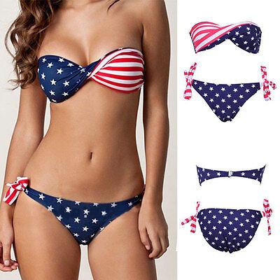 Stars and Stripes Padded Twisted Bandeau American Flag Swimwear Bikini Swimsuit