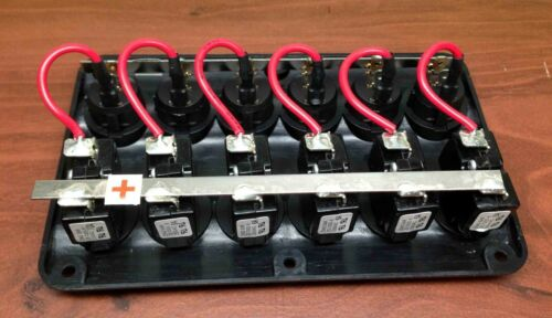Marine Boat IP65 Switch Panel 6 Gang LED Switches /& Circuit Breaker Wave Design