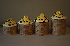 Vintage Ceramic Sunflower Kitchen Canister Set 4 Pieces