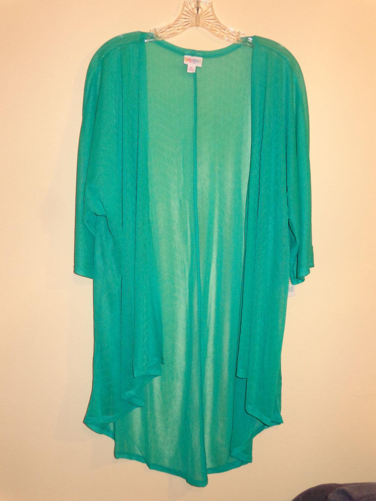 LuLaRoe Medium Lindsay Kimono, Emerald Green Zig Zags NWT