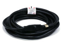 25ft 14awg 14/3 Power Extension Cord Cable 15a 125v Nema 5-15 Black Outdoor