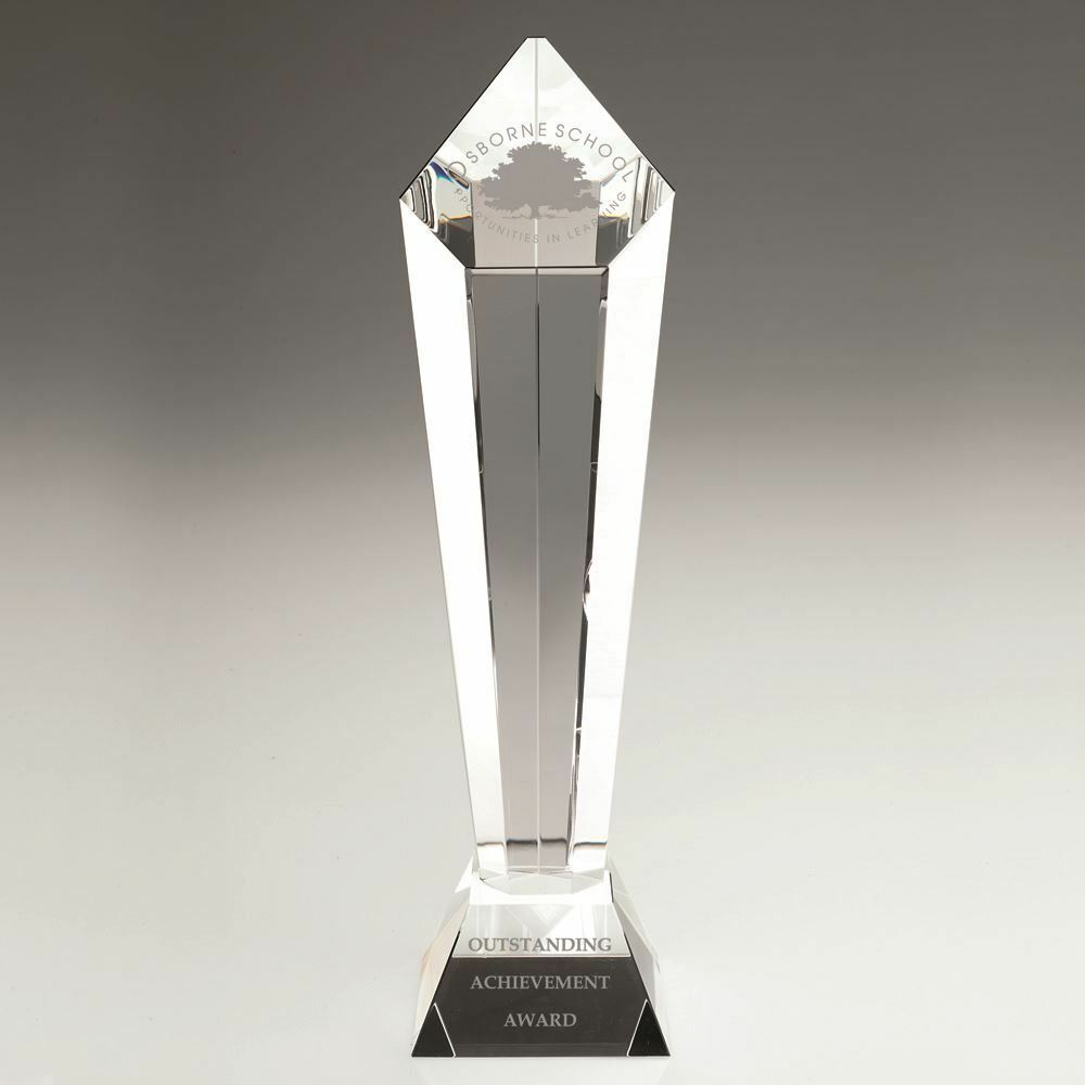 CLEAR GLASS PENTAGON COLUMN ON BASE - 13.75in