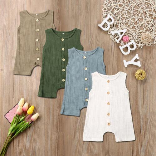 US Newborn Boy Baby Girl Cotton Linen Romper Bodysuit Outfits Clothes Set 0-24M