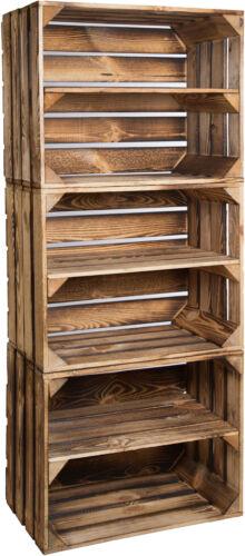 3 x massive geflammte caisses étagère à chaussures armoire étagère arriveraient weinkisten