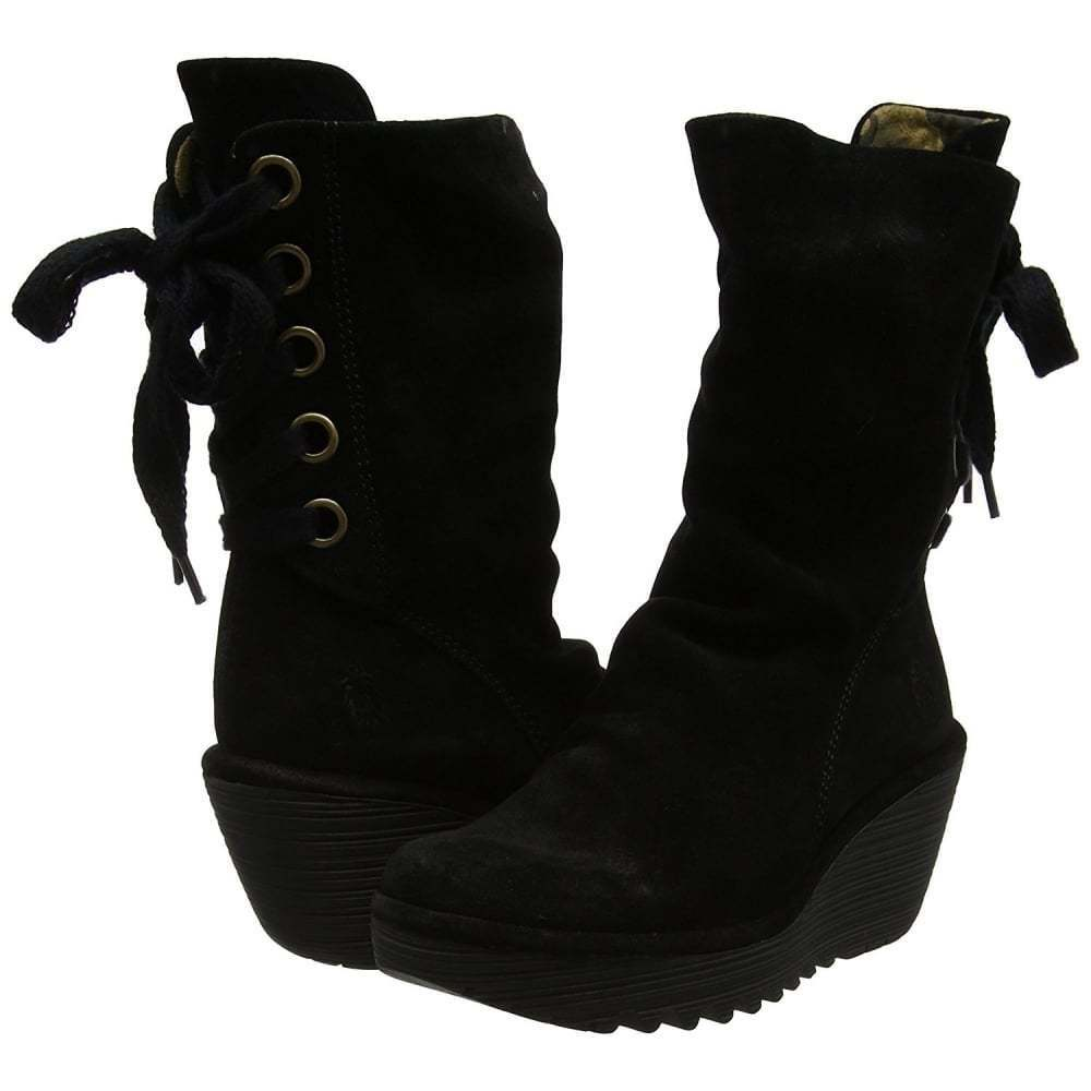 mesdames fly london yada wedge bottes riches boues diesel bottes wedge en cuir noir. 1ab44f