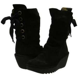 Ladies-Fly-London-Yada-Wedge-Heeled-Calf-Boots-Leather-Black-Diesel-Sludge