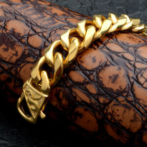 18K-Gold-Stainless-Steel-Curb-Link-Chain-Bracelet-for-Men-Rapper-Jewelry-15mm
