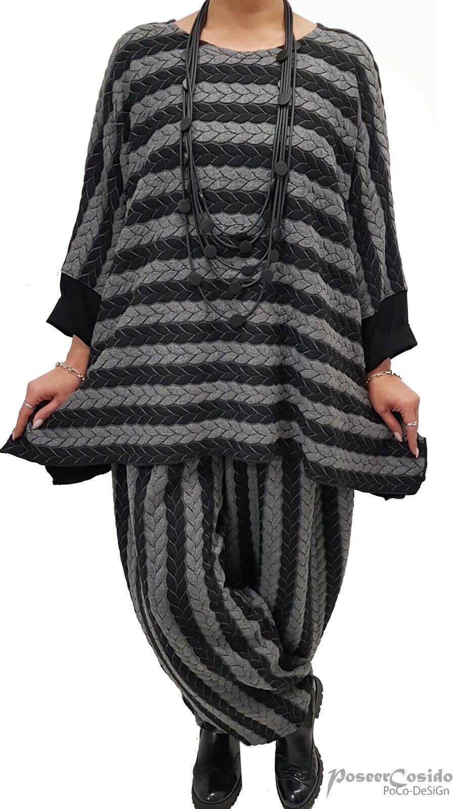 PoCo DeSiGn LAGENLOOK Pullover Pulli Long-Shirt schwarz grau Zopf L-XL-XXL-XXXL