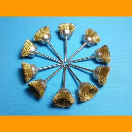 10x Messingdrahtbürste Messing Bürste Topfdrahtbürste 25 mm für Dremel Proxxon