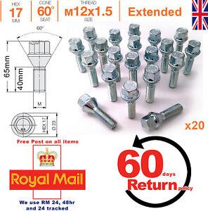 60mm filo esteso Affusolato Sedile LEGA RUOTA BULLONI Set di 8 M12 x 1,25