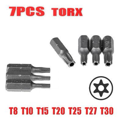 7pcs 25mm Torx Screwdriver Bits With Hole T8 T10 T15 T20 T25 T27 T30 1//4Inch Hex