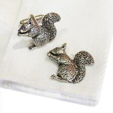 Silver Pewter Squirrel Handmade in England Cufflinks Squirrels Nuts Wildlife New