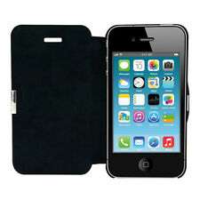 kwmobile FLIP COVER FÜR APPLE IPHONE 4 4S SCHWARZ SCHUTZ HÜLLE HANDY CASE SLIM