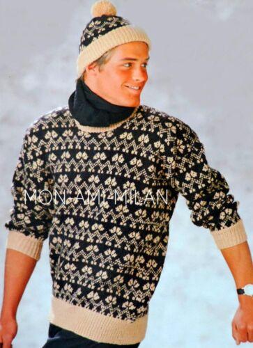 "Knitting Pattern Copy MENS FAIR ISLE SWEATER PULLOVER JUMPER /& BOBBLE HAT 38-44/"""