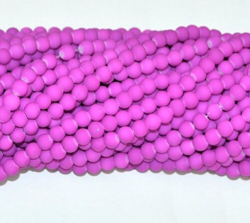 Une chaîne de caoutchouc fini Violet Verre Perles Rondes 6 mm environ 140-150pcs