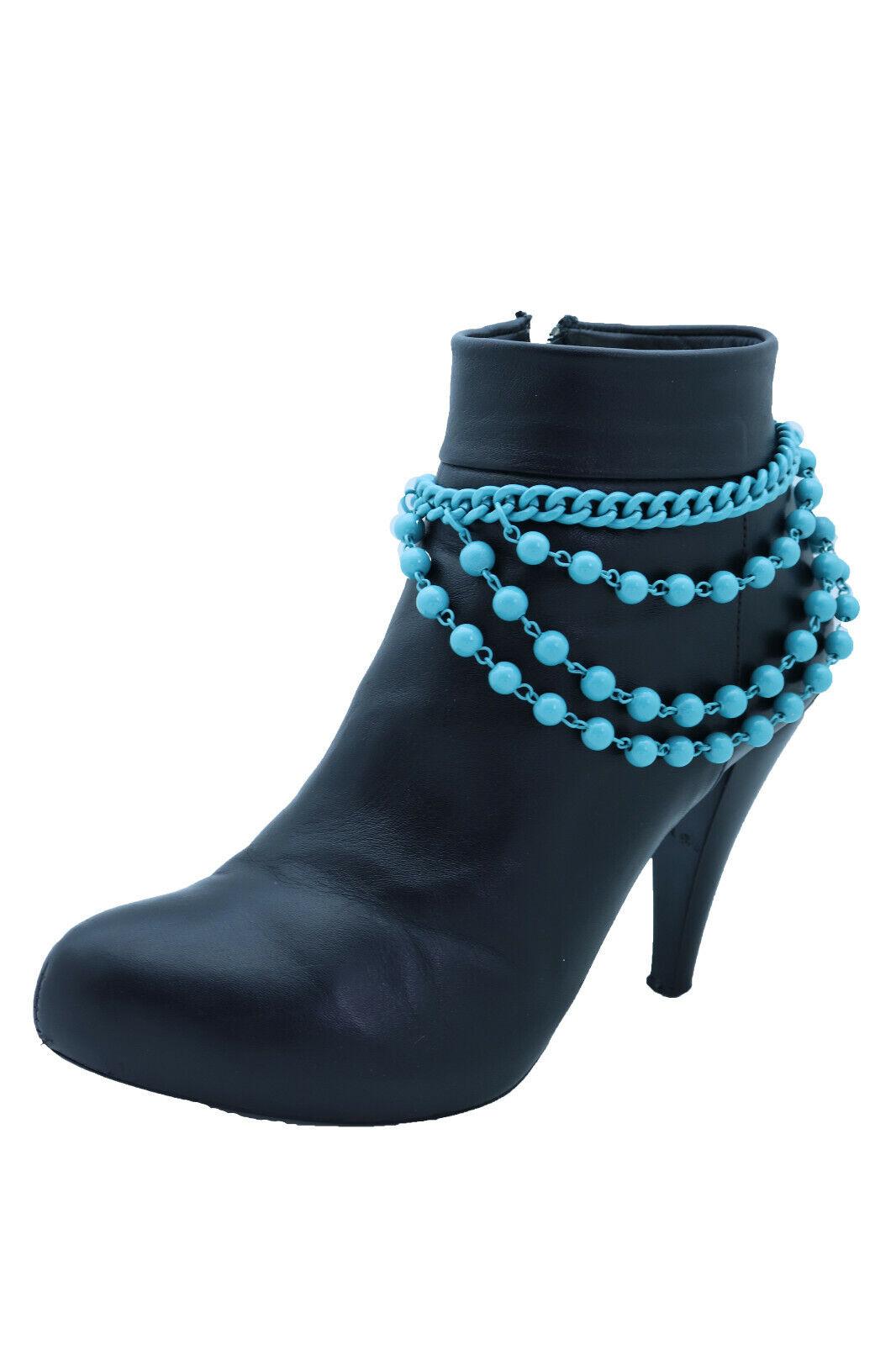 Women Blue Metal Chain Western Boot Bracelet Anklet Shoe Balls Charm Texas Look