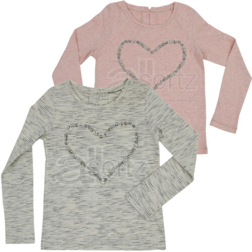 Girls Top UK Store Long Sleeved Heart Tunic Top Pink Cream Cotton Rich Next Day
